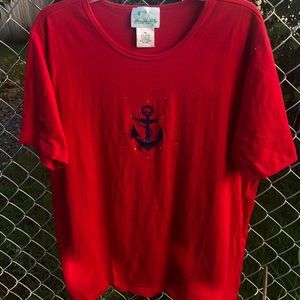Quacker Factory red/blue Anchor top 1X EUC